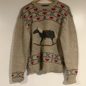 Vintage retro Eddie Bauer rocking horse sweater